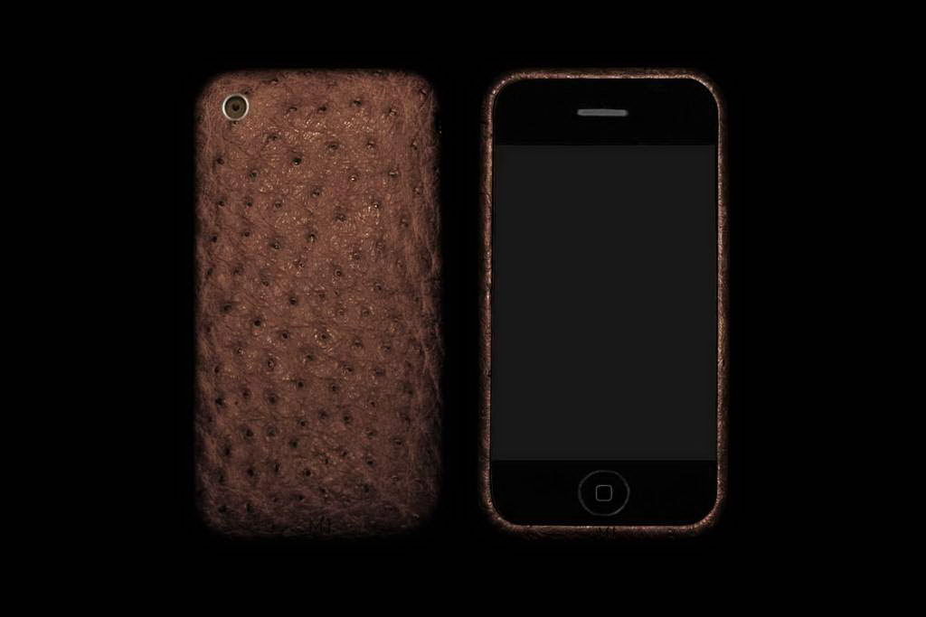 Apple iPhone Ostrich Full Ostrich Leather Brown Wood Style