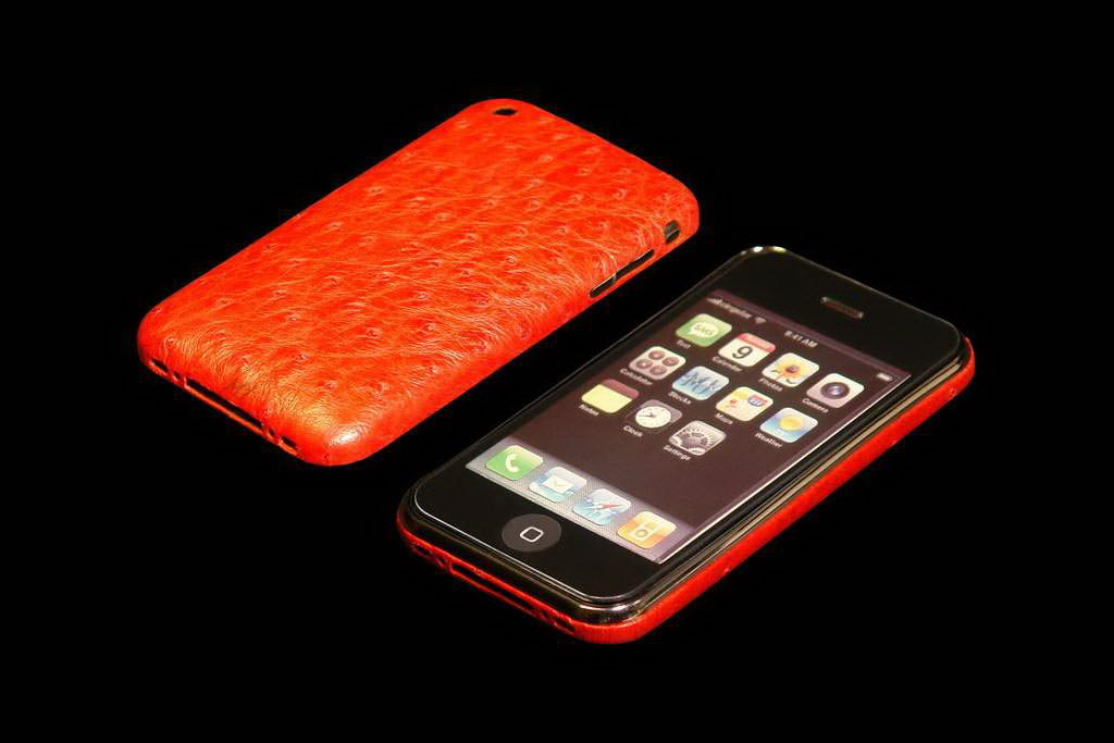 MJ Apple iPhone Gold VIP Leather Duo - Ostrich Red Skin