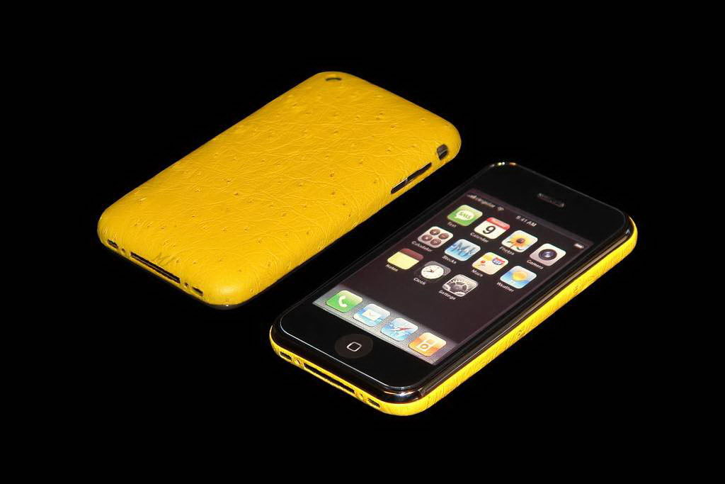 MJ Apple iPhone Gold VIP Leather Duo - Ostrich Yellow