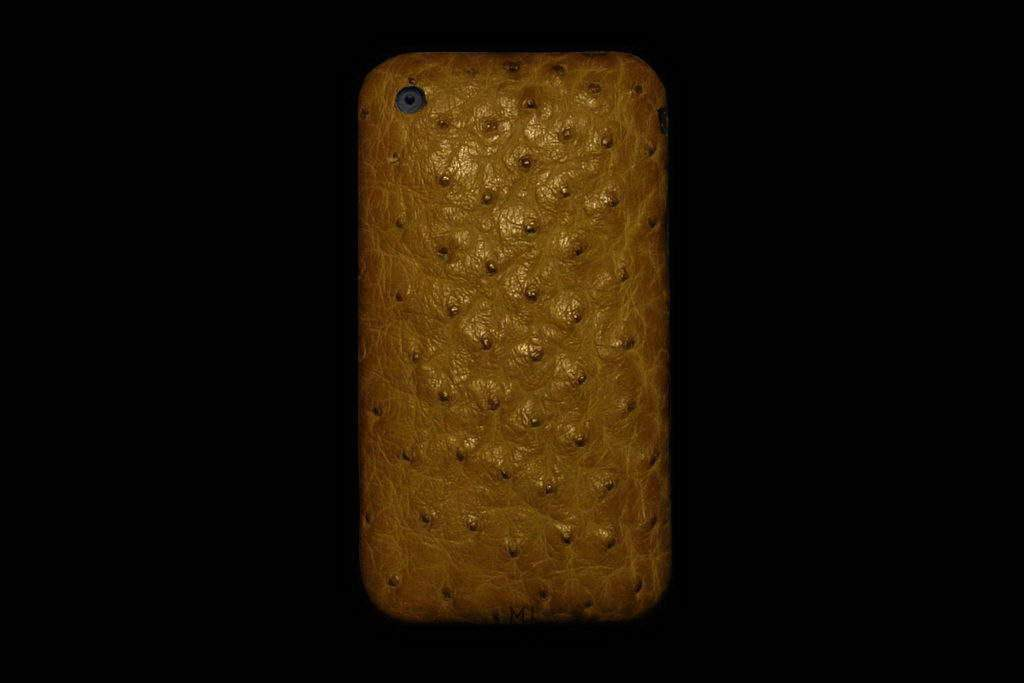 Apple iPhone Diamond Ostrich Leather MJ Edition - Army Brown Green Color Skin