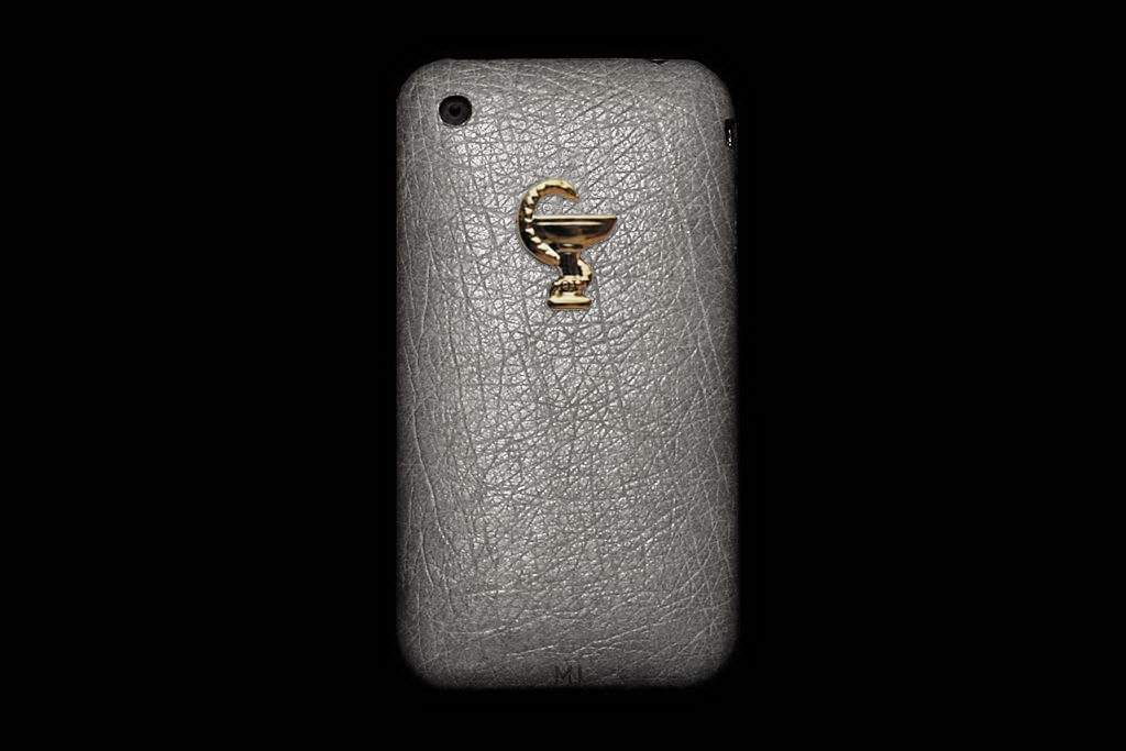 Apple iPhone Elephant Leather MJ Limited Edition - Gray Skin with Gold Apple Pink 585 or 750