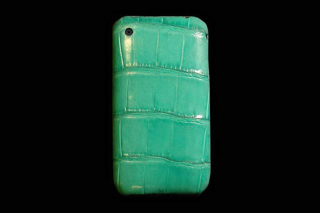 Apple iPhone Exotic Genuine Leather MJ Edition - Cayman Acid Green Skin