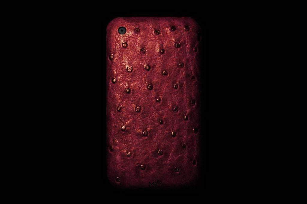 Apple iPhone Leather MJ Luxury Edition - Ostrich Bordeaux Skin Claret