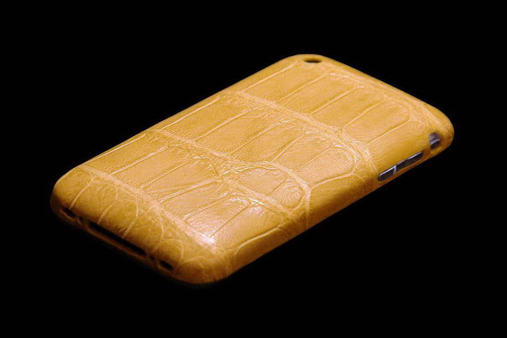 Apple iPhone 3G White Gold 750 Leather Limited Edition - Crocodile Nature Yellow Color